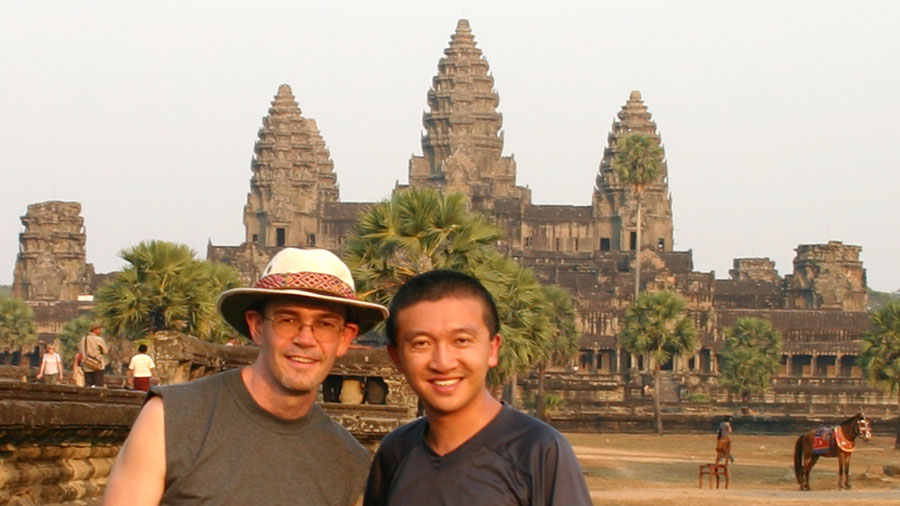 Russell and Albert at Angkor Wat in 2005