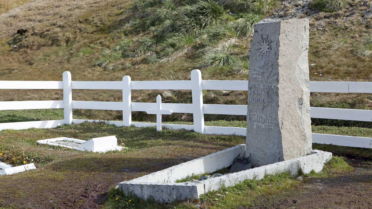 The Grave of Sir Ernest Shacklton at the Cemetery at Grytviken