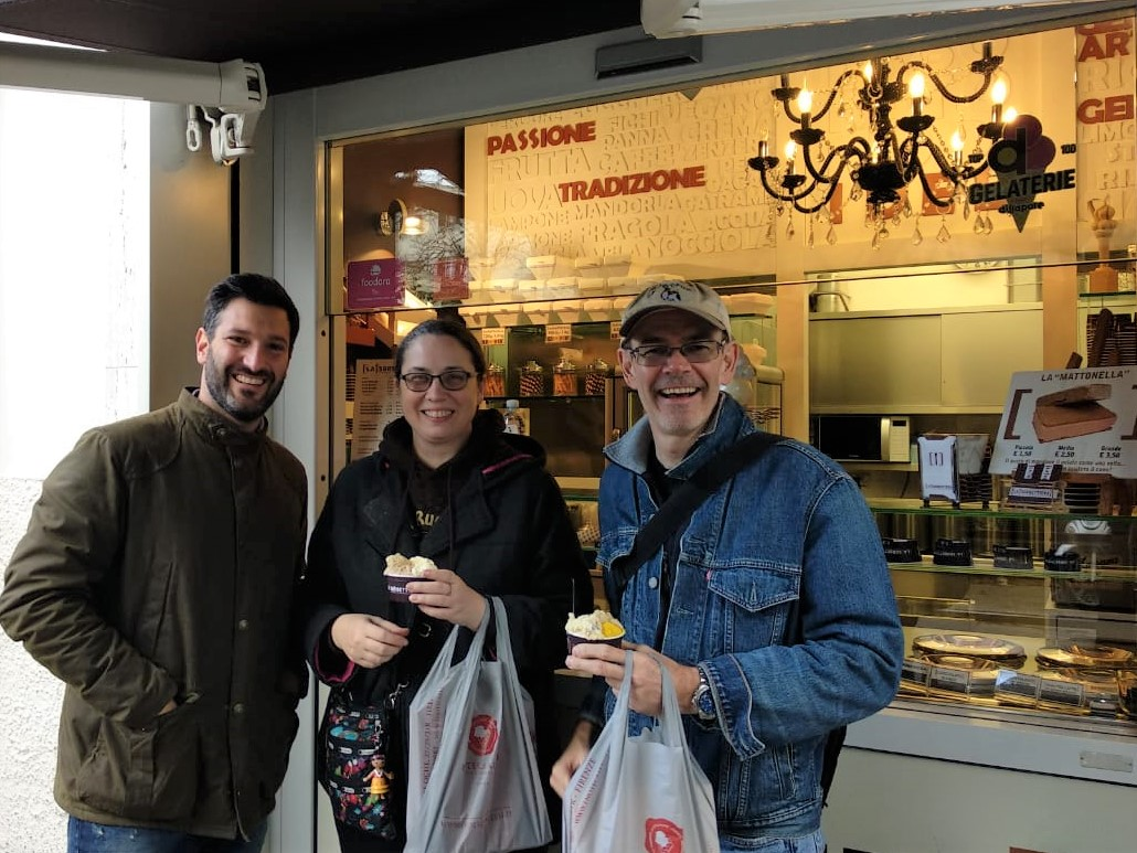 Award-winning Gelateria La Sorbettiera with owner Antonio and Manhattan Chocolate Society founder George Gensler