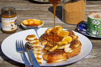 Mango & Passion Fruit Caramel Sauce on French Toast