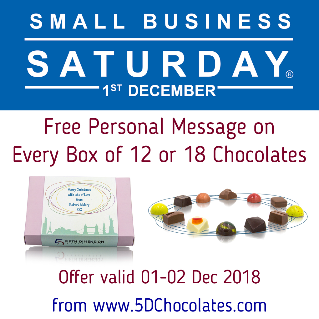 Small Business Saturday offer - Free Personal Message on every box of 12 or 18 chocolates